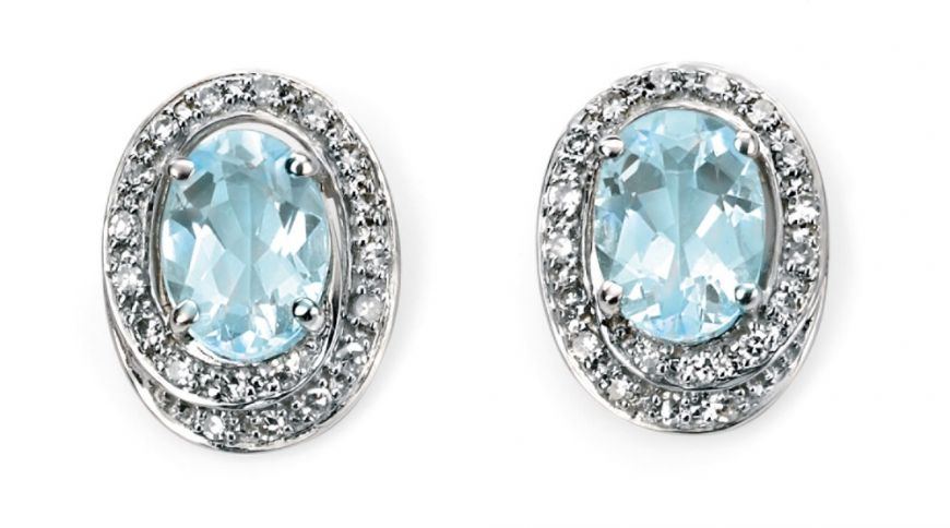 9ct White Aquamarine & Diamond Oval Earrings