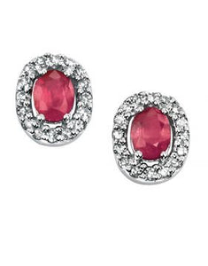 9ct White Gold Oval Ruby & Diamond Halo Stud Earrings