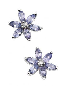 9ct Gold Tanzanite & Diamond Flower Studs