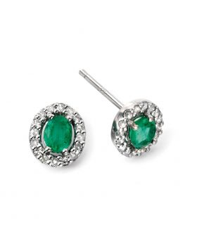 9ct White Gold Emerald & Diamond Oval Halo Stud Earrings