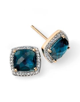 9CT Gold Cushion London Blue Topaz Stud Earrings