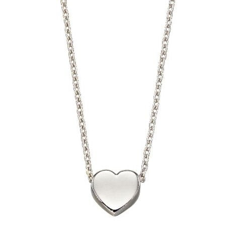 9ct White Gold Petite Solid Heart on Chain