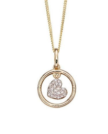 9ct Gold Pave Set Heart Pendant & Chain