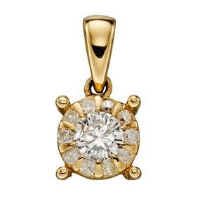 9ct Diamond Cluster Pendant