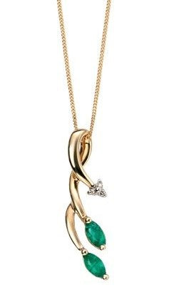 9ct Gold Emerald & Diamond Vine Pendant & Chain