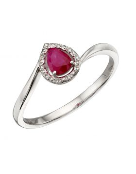 9ct White Gold Ruby & Diamond Pear Twist Ring