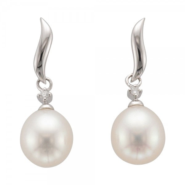 9ct White Gold Freshwater Pearl & Diamond Drop Earrings