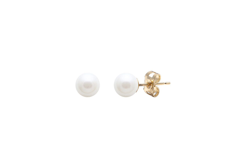9ct Gold Cultured Pearl Studs - 6mm