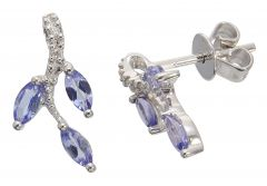 9CT White Gold Tanzanite & Diamond Vine Stud Earrings