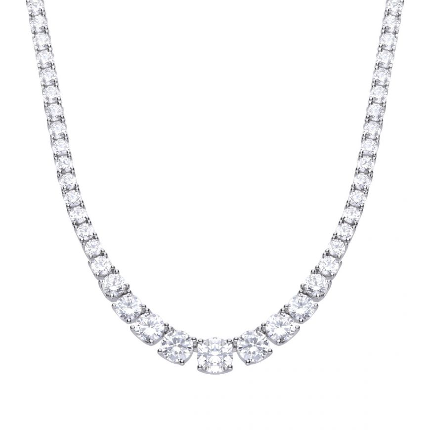 Diamonfire Graduated Tennis Cubic Zirconia Necklet