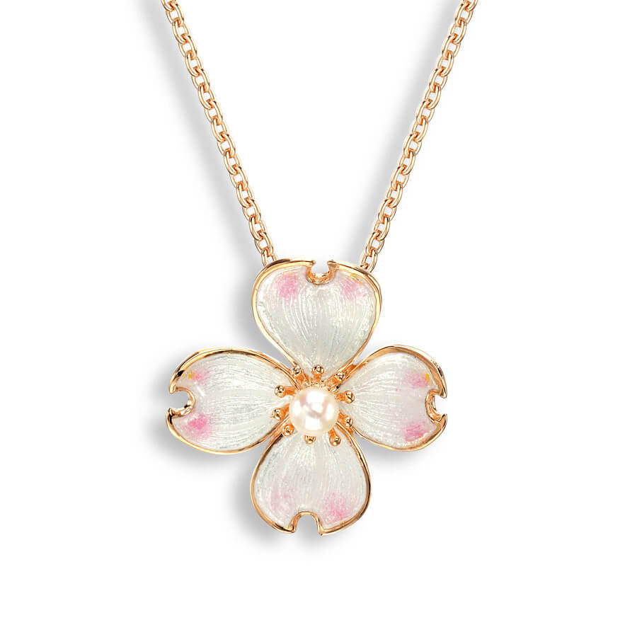 Nicole Barr Dogwood Rose Necklace with Pearls