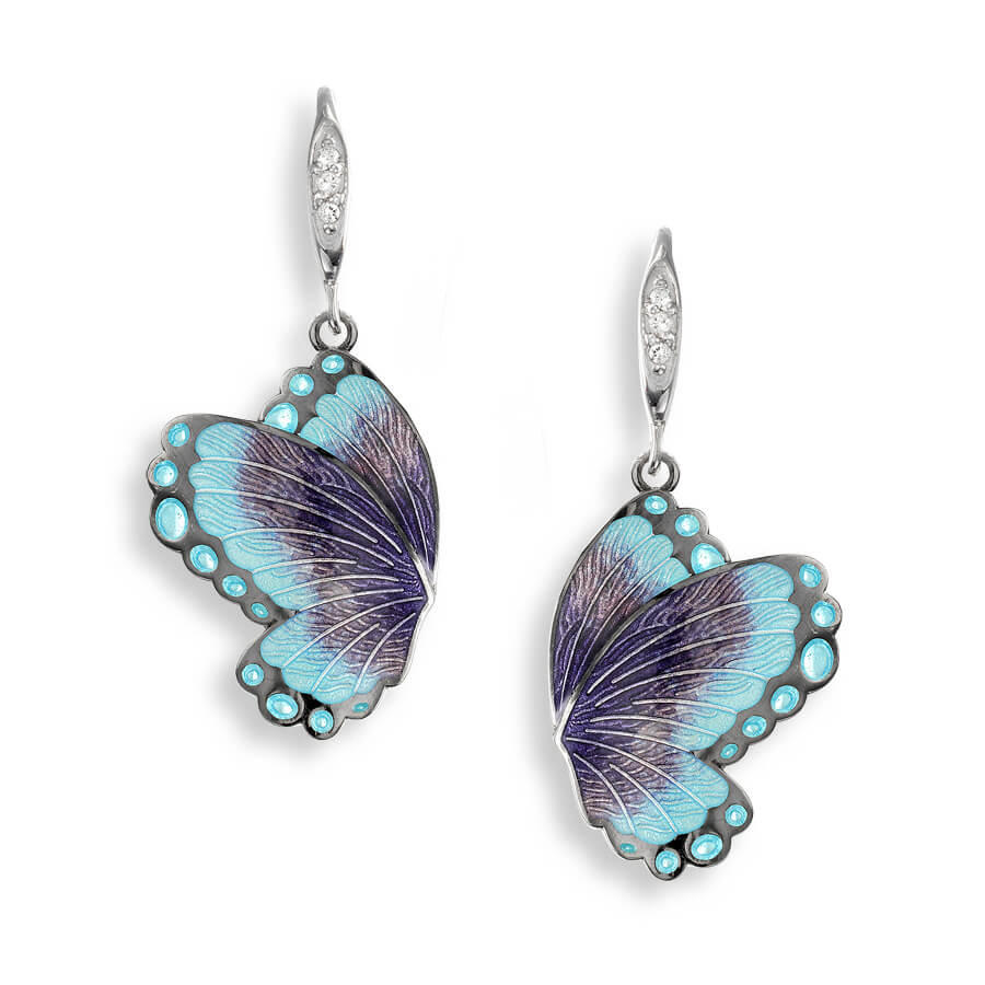 Nicole Barr Purple Butterfly Drop Earrings