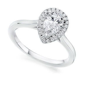 18ct Diamond Pear Halo Ring 0.44ct