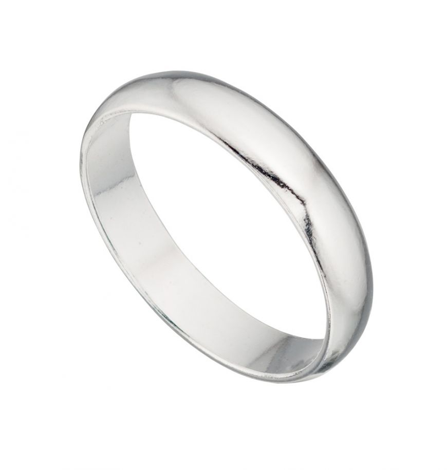 Sterling Silver D Shape Band