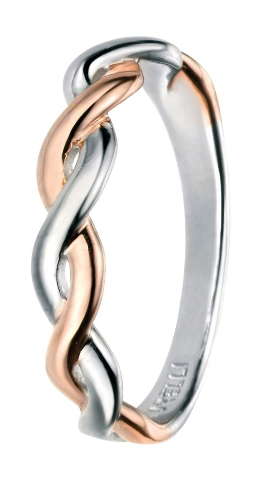 Silver & Rose Gold Plate Twist Ring