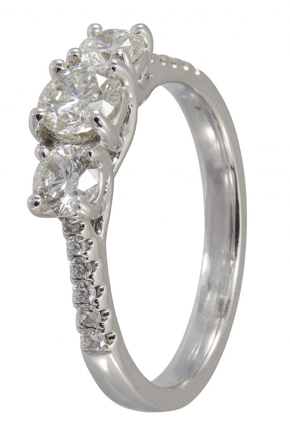 18ct White Gold Diamond Trilogy Ring with Diamond set Shoulders 0.77ct
