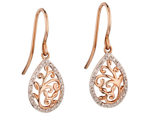 9ct Rose Gold Diamond Filigree Drop Earrings