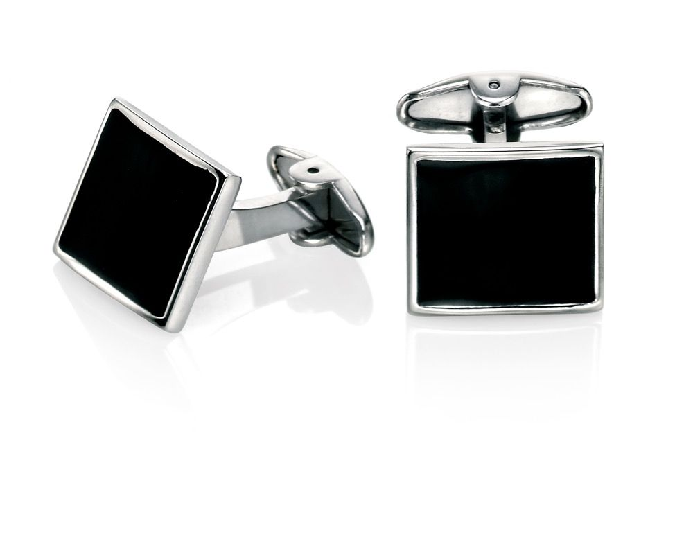 Fred Bennet Black Enamel Steel Cufflinks