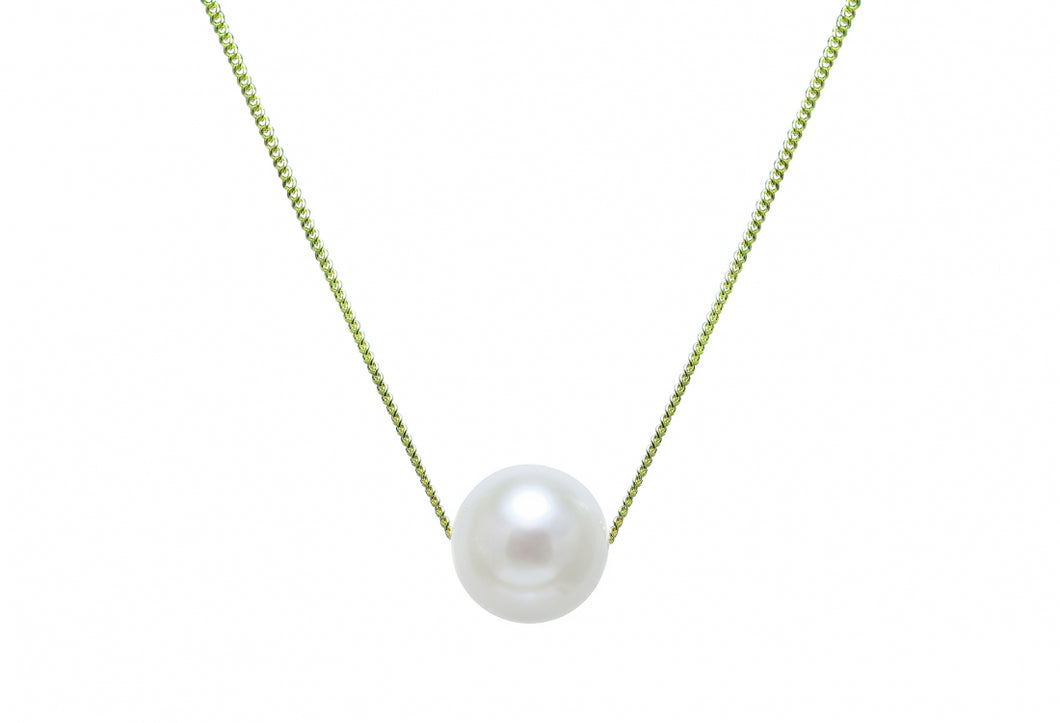 9ct Yellow Gold Sliding Pearl Necklace