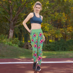 Leggings de yoga color verde/fondo flores