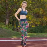 Leggings de yoga  color azul/ fondo flores