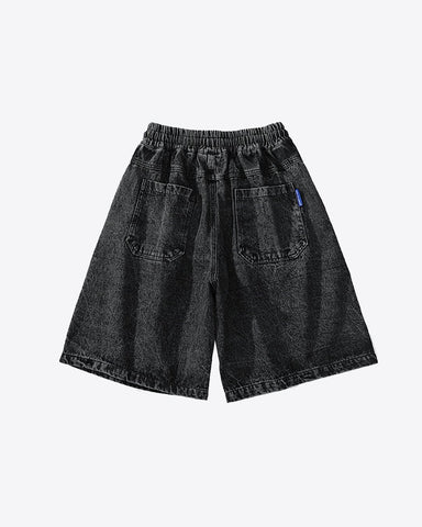 Graffiti Stretch Denim Shorts