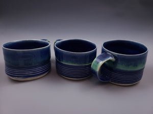 Short 10oz Cafe Mug with Horizontal Ridge Pattern