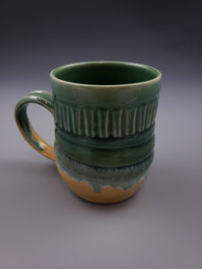 White Stoneware 16oz Mug carved line pattern
