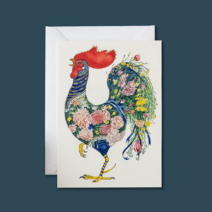 Rooster with Flowers - Card - Pack of 6