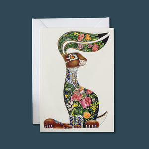 Hare with Flowers - Card - Pack of 6