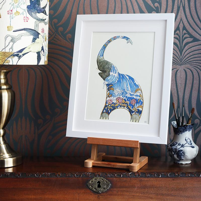 Elephant Squirting Water - Print - The DM Collection