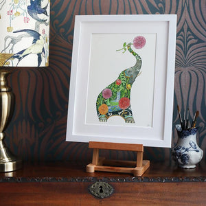 Elephant with Flowers  - Print - The DM Collection