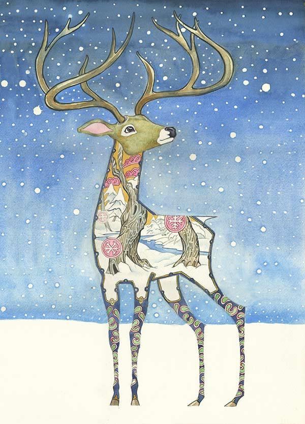 Stag in the Snow - Card - The DM Collection