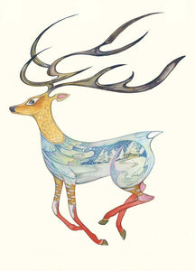 Reindeer Running - Card - Pack of 6