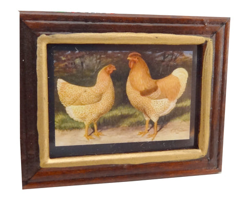Framed Print of a Cockerel & Hen