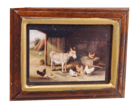 Framed Print of a Donkey & Chickens