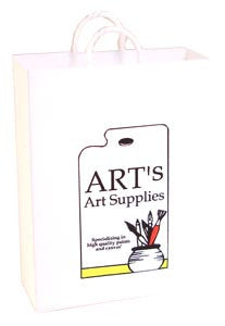 White Carrier Bag - Art Supplies