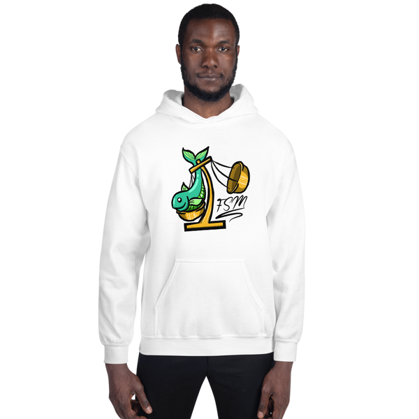 Fish Scale Large Logo Hoodie - White