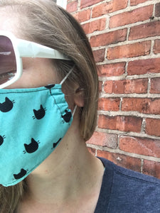Teal and Peach Floral - Adult Sized Mask Regular