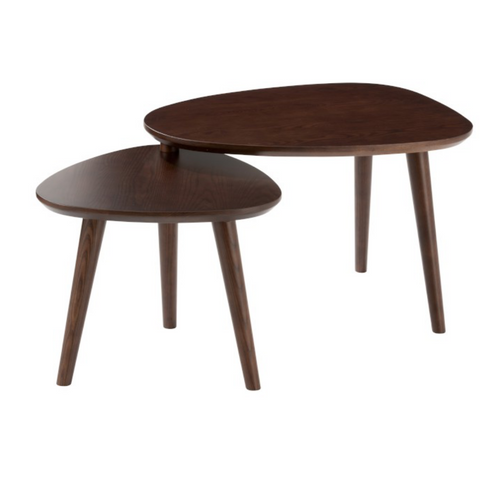 Set de 2 tables gigognes - Vintage Bois Marron