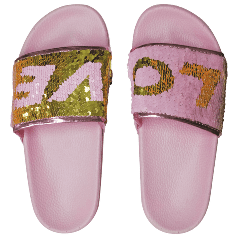 Love Reversible Sequin Slides - Size 6-7 Womens