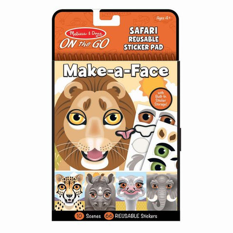 Make-A-Face Reusable Sticker Pad-Safari
