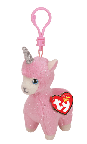 "Ty Lana the Pink Llama with Horn 5"" Plush Clip"