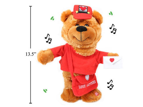 Valentine's Mailman Bear Singing/Dancing Plush