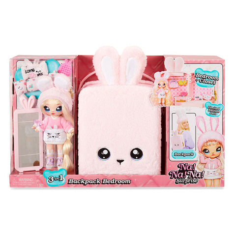 Na! Na! Na! Surprise 3-in-1 Backpack Bedroom Pink Bunny Playset