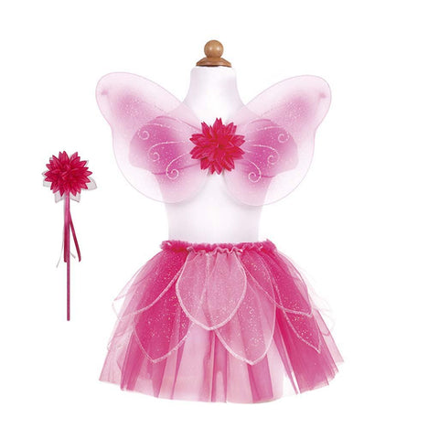 Fancy Flutter Skirt Set with Wings & Wand Pink