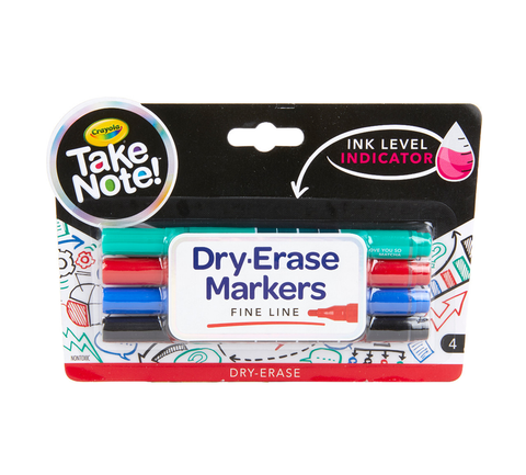 Crayola Take Note Low Odor Dry Erase Markers - Fine Tip, 4 Pack