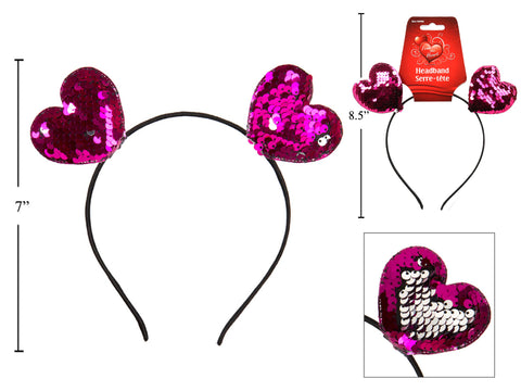 Valentine's Reversible Sequin Heart Headband