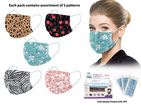 Disposable Patterned Face Masks 50 Pack - Womens