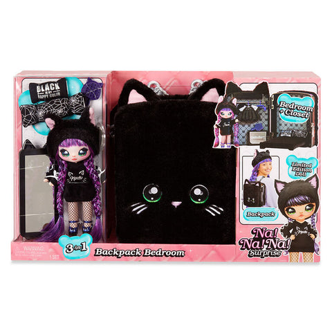 Na! Na! Na! Surprise 3-in-1 Backpack Bedroom Black Kitty Playset
